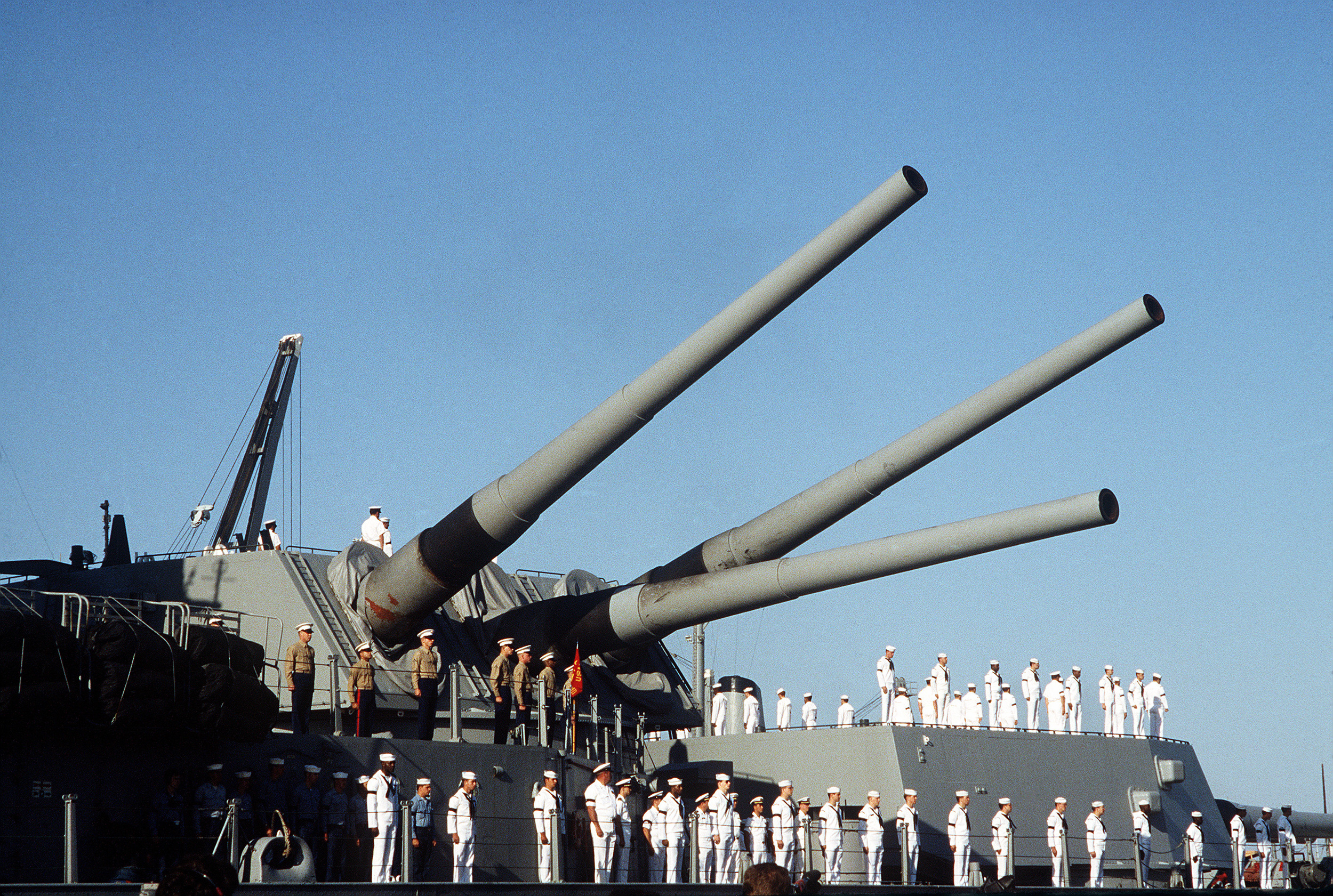 USS Iowa approaches port with damaged center gun on Turret 2   Image courtesy of Wikimedia Commons