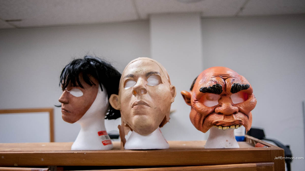 From left to right: Vivian, unknown mask, and The Caveman.   Three masks that are in use for crow behavioral studies at the University of Washington in Seattle.