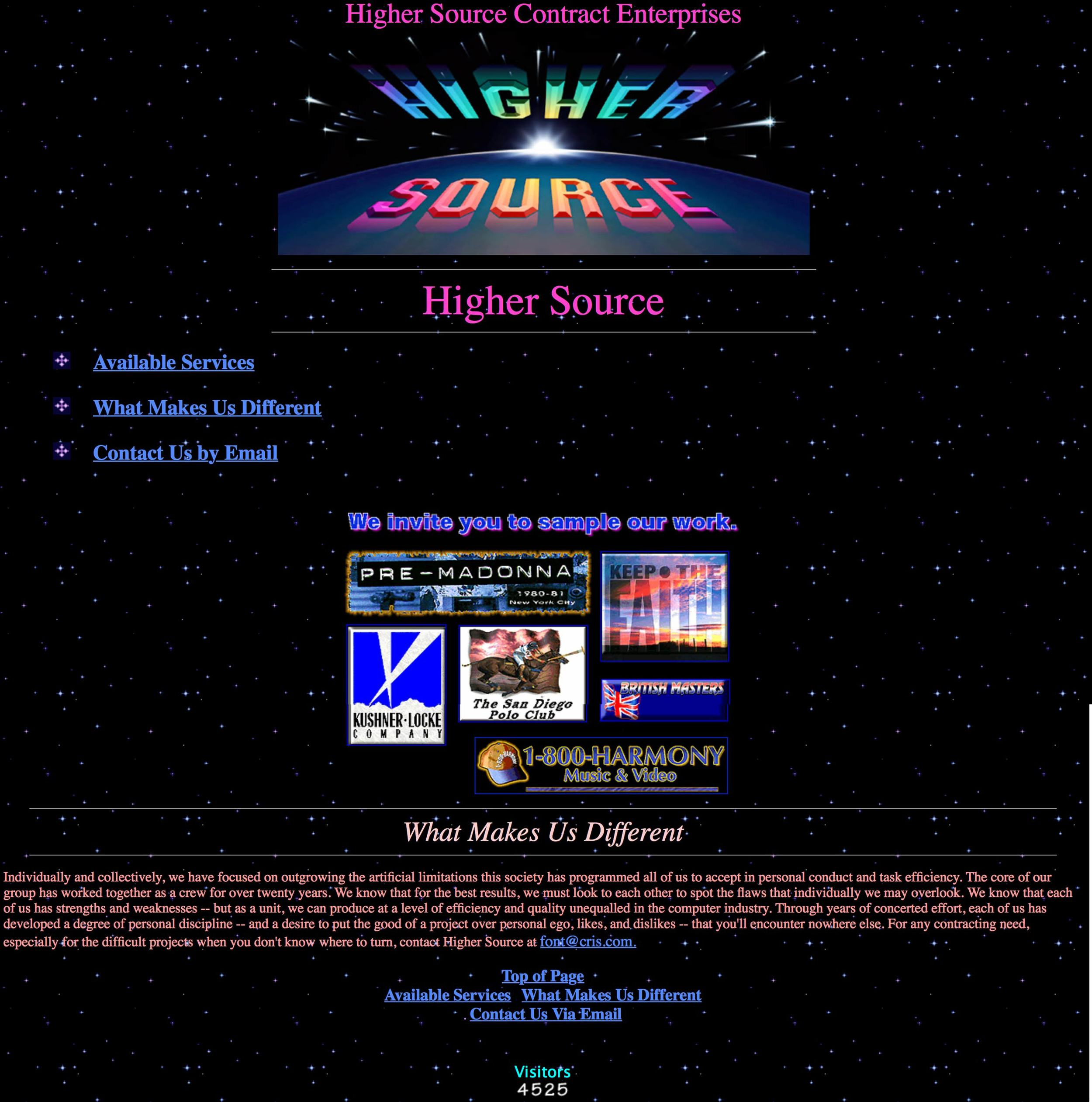 Screenshot of Higher Source's Website as of April 1997