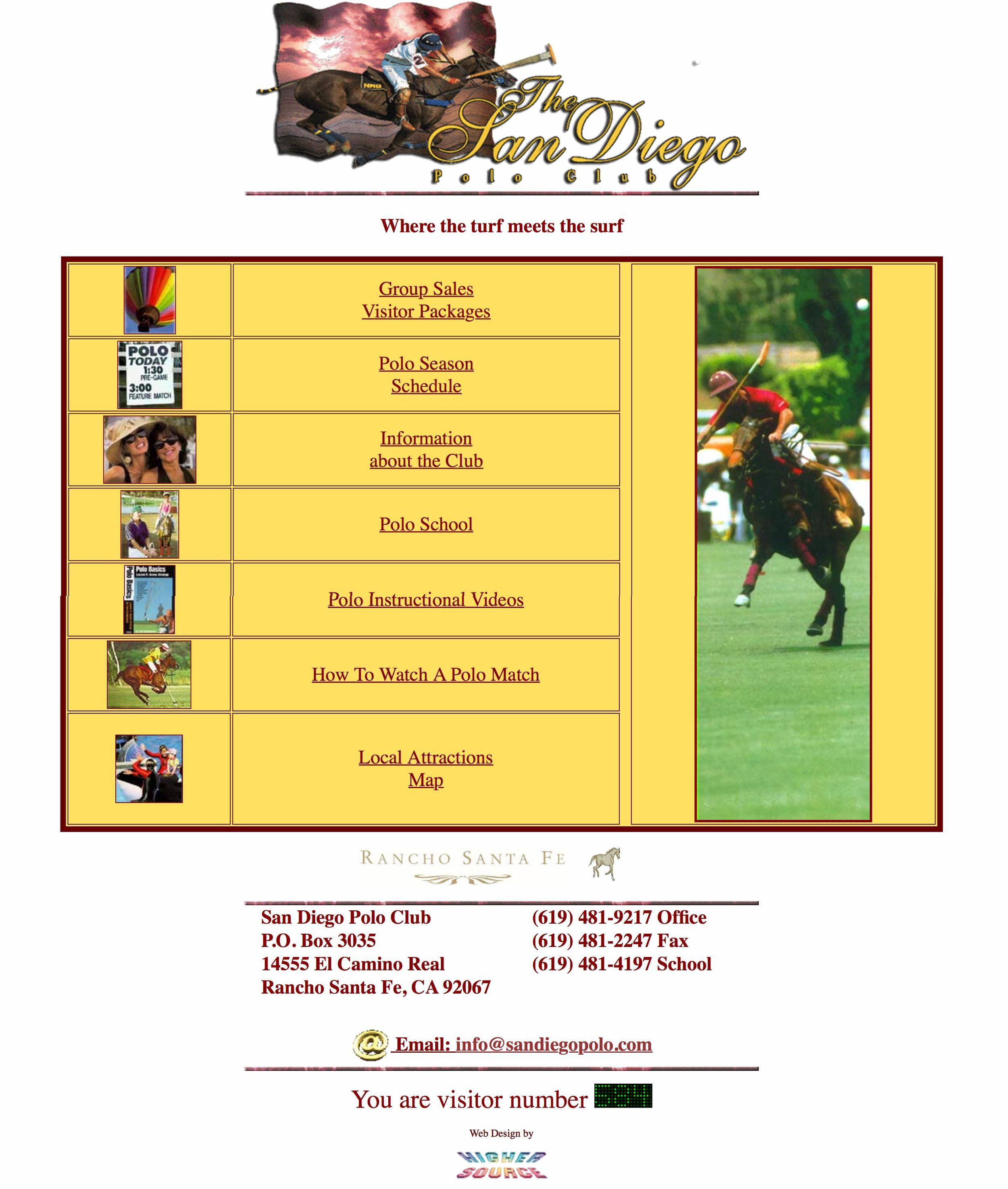 Screenshot of The  San Diego Polo Club's Website  as of April 1997.  Website designed by Higher Source.
