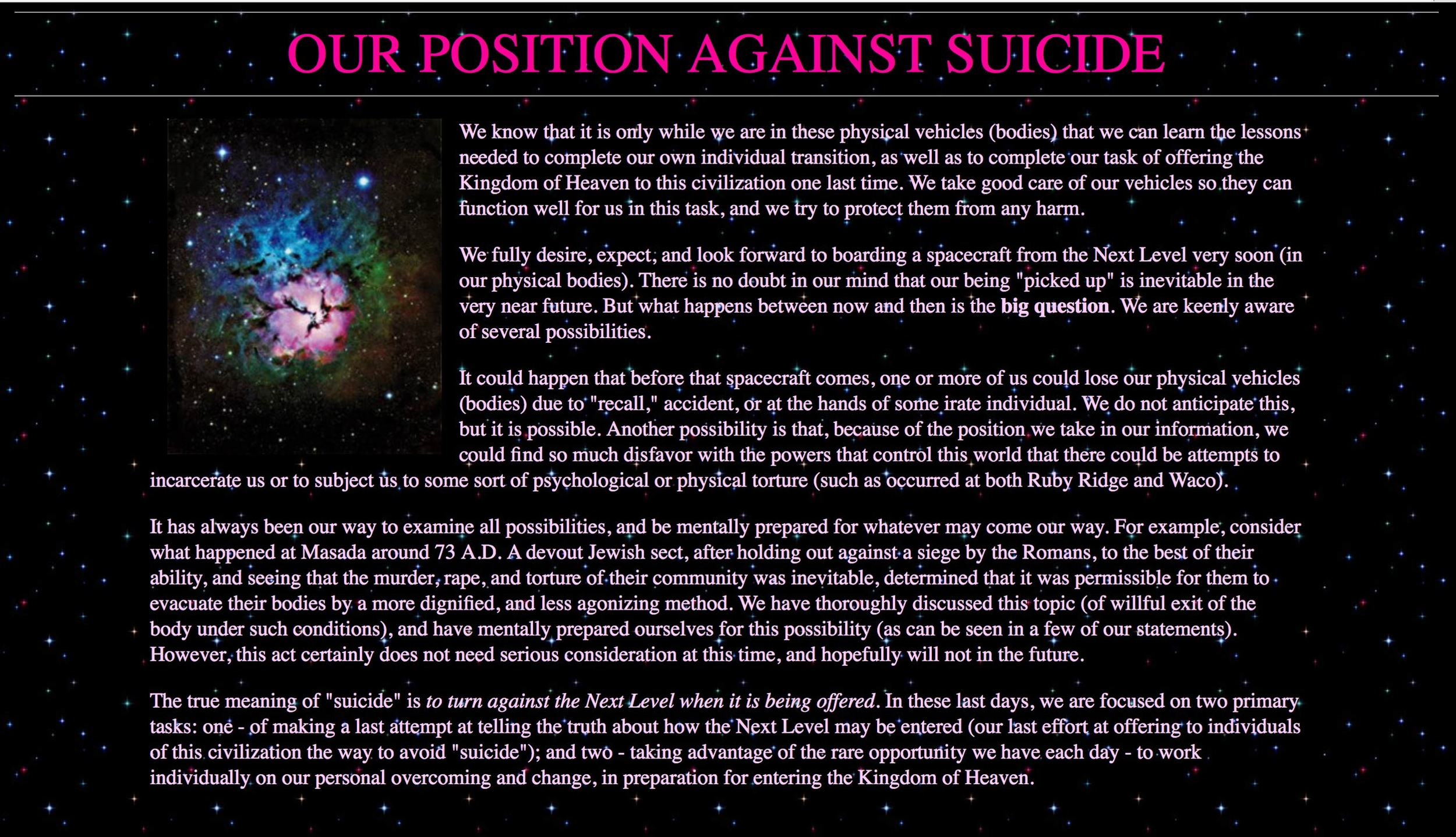 Heaven's Gate's  statement against suicide
