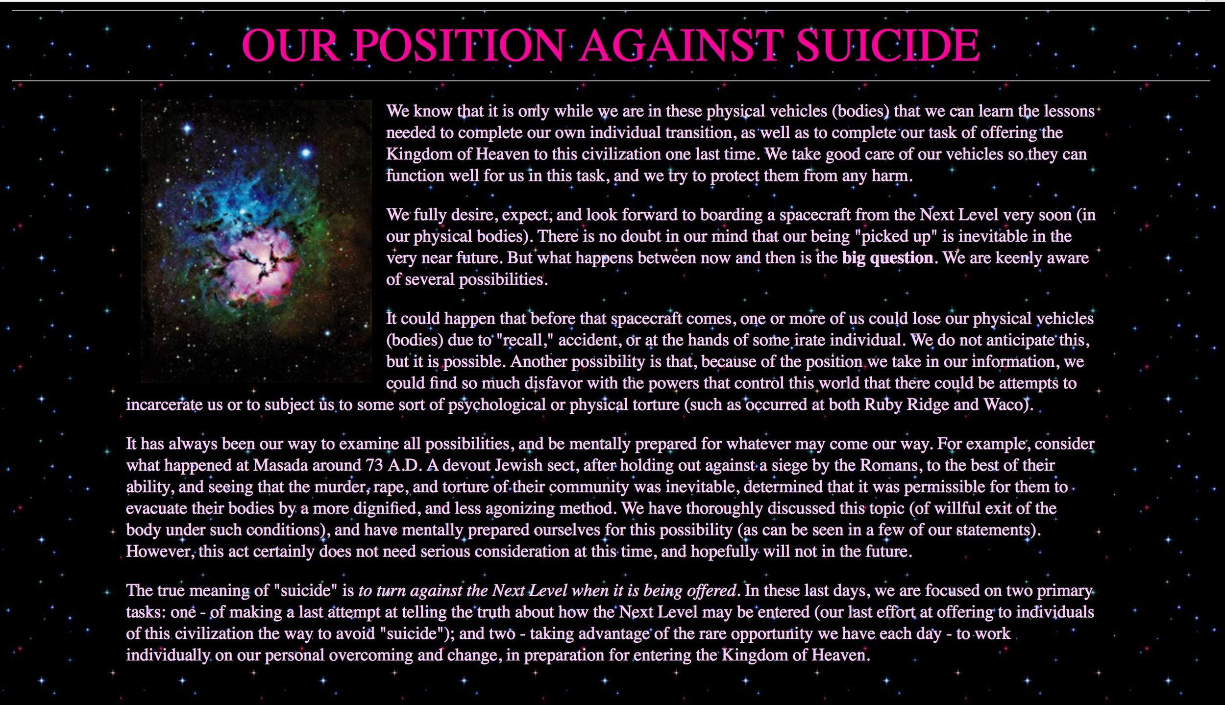 Heaven's Gate's  statement against suicide