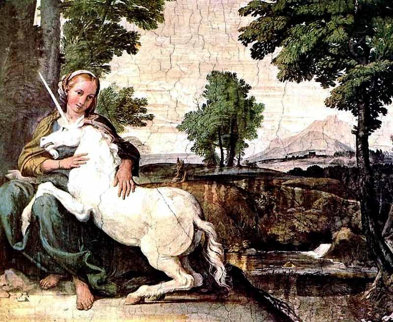 The Maiden and the Unicorn. Domenichino. ca 1602. Italian, painting, fresco.