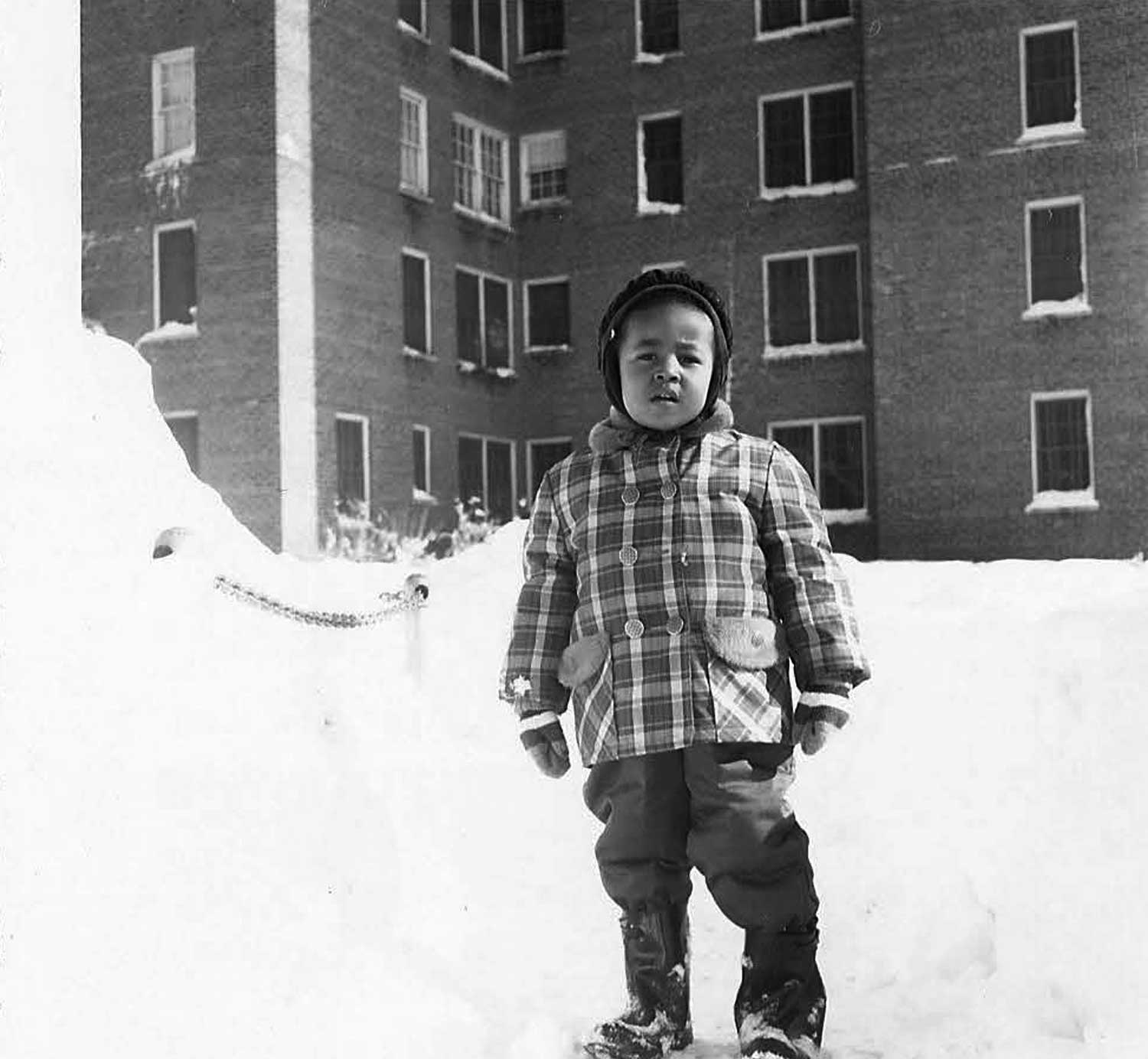 Karen wearing earmuffs after a snowstorm. 1961. Photo courtesy Karen Smith.