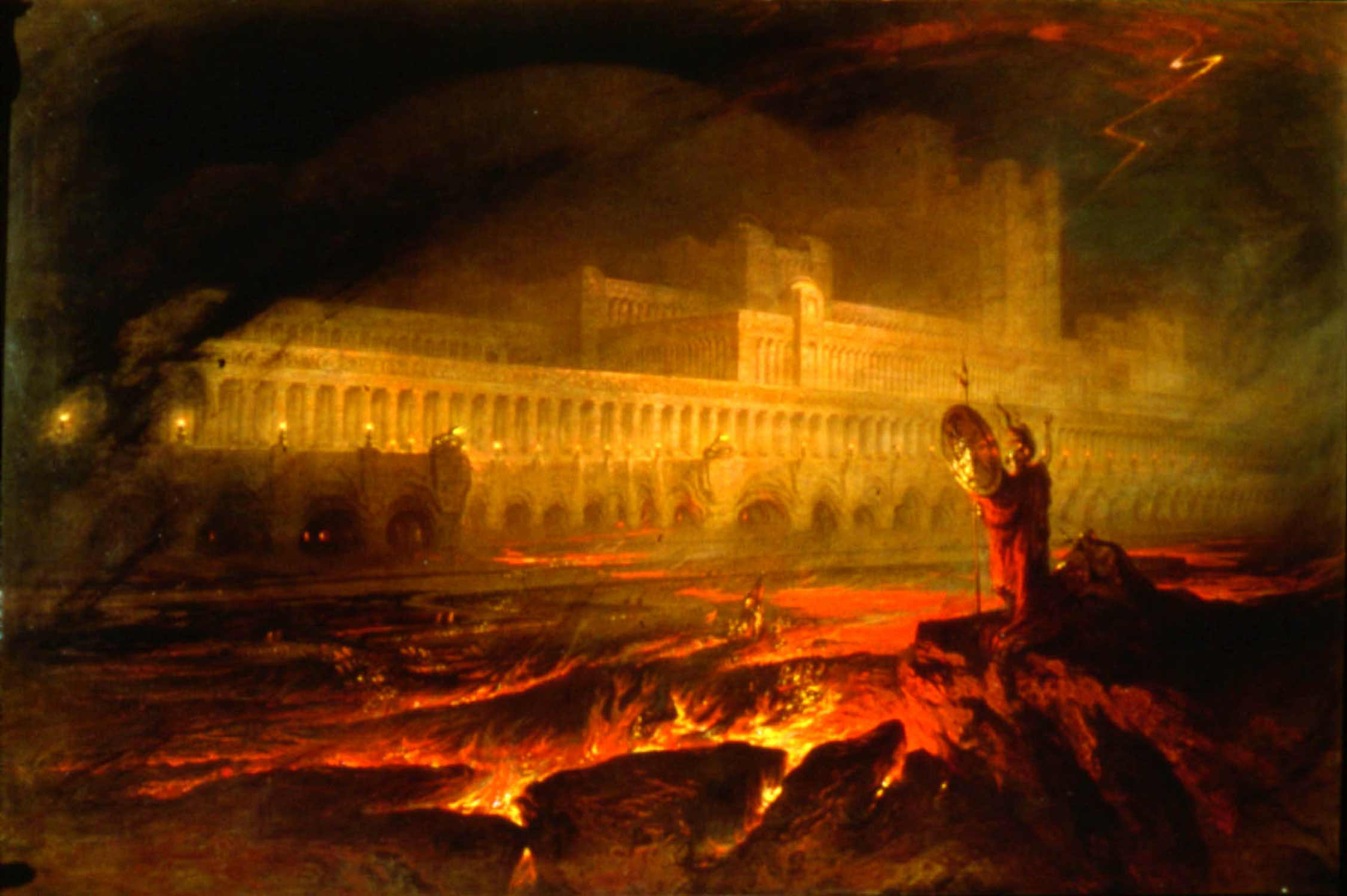Pandæmonium, the capitol of hell in John Milton's epic poem  Paradise Lost .   Pandæmonium , by John Martin, 1841.  Courtesy Wikimedia Commons.