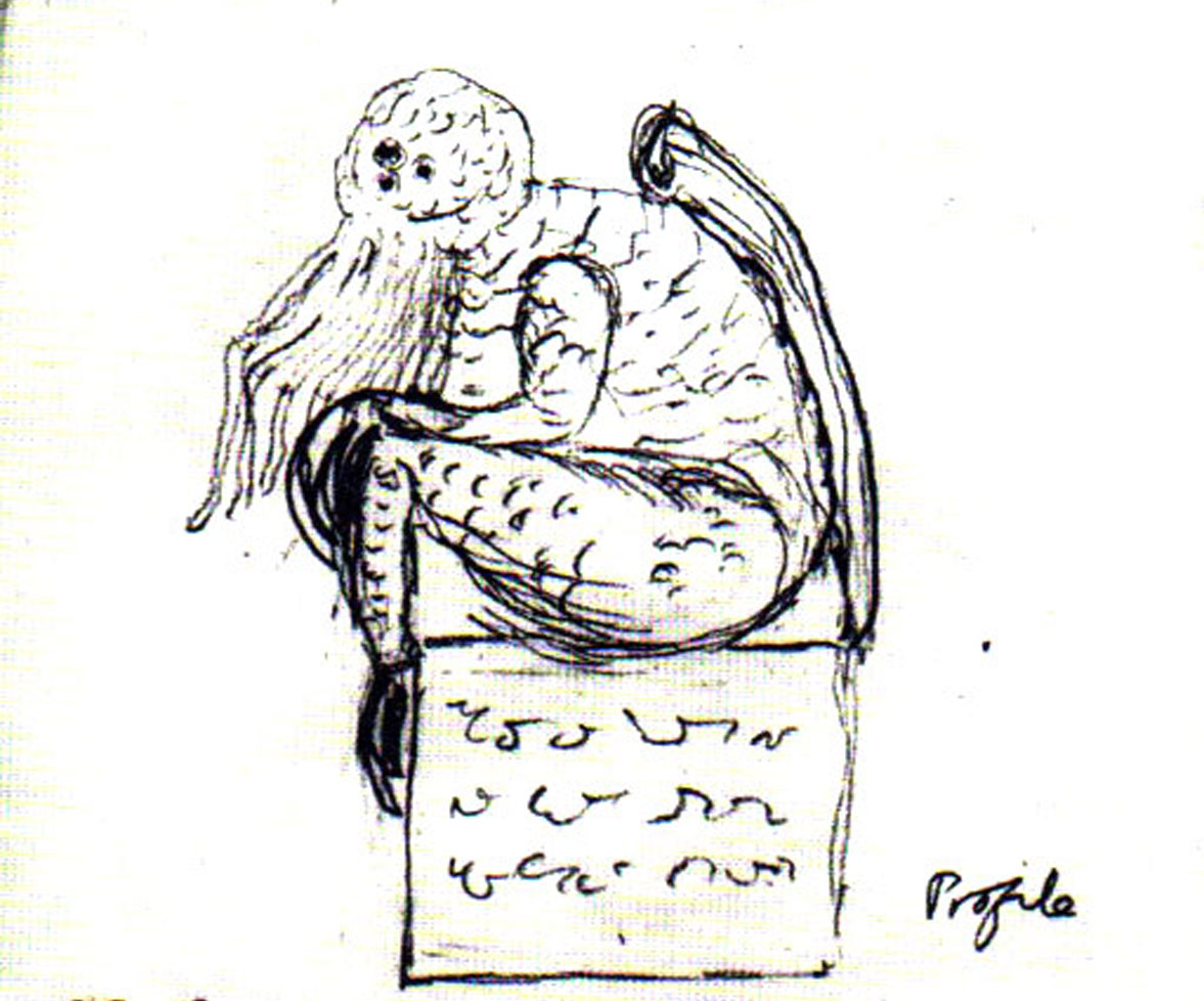 HP Lovecraft's drawing of his own monster, Cthulhu. 1934