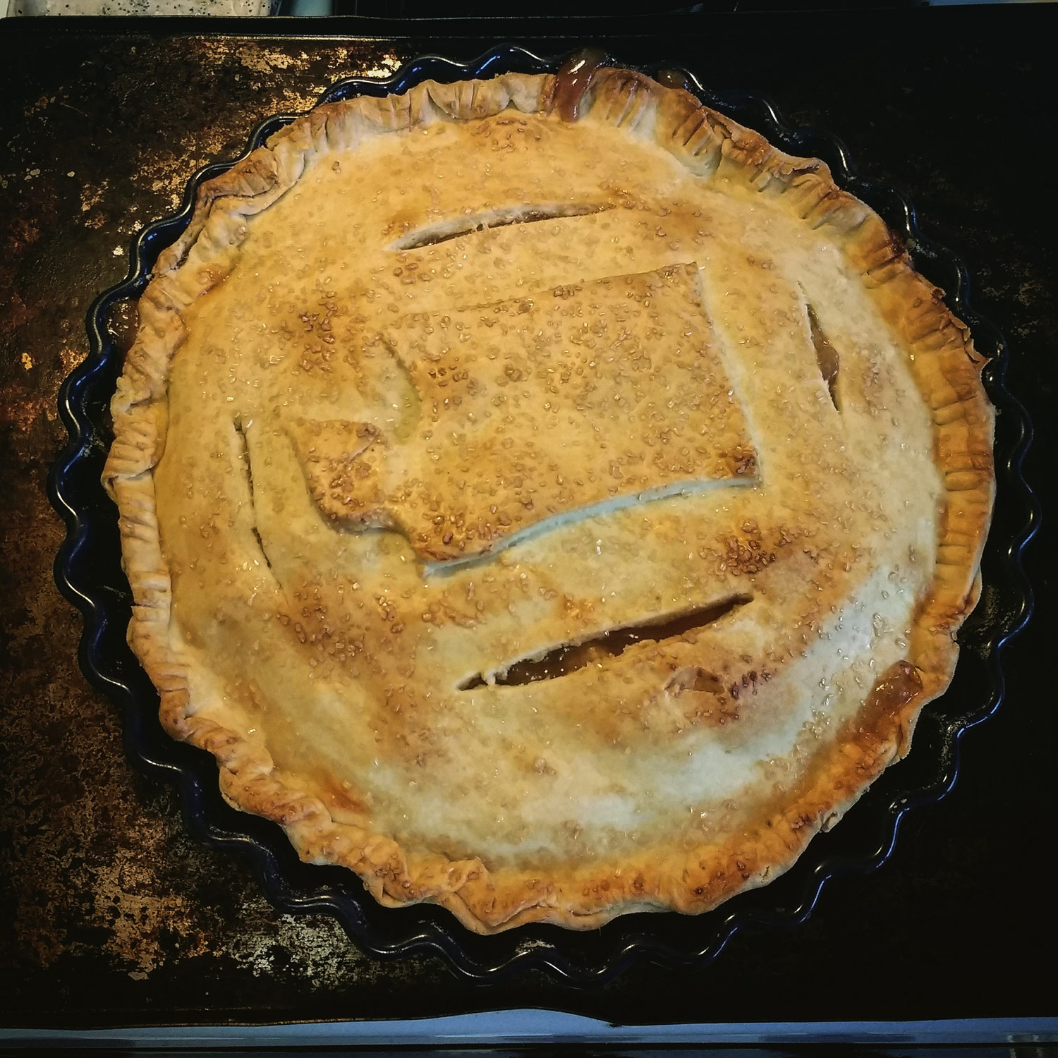 The apple pie featured in this episode.  State of Washington pictured in crust cut-out.