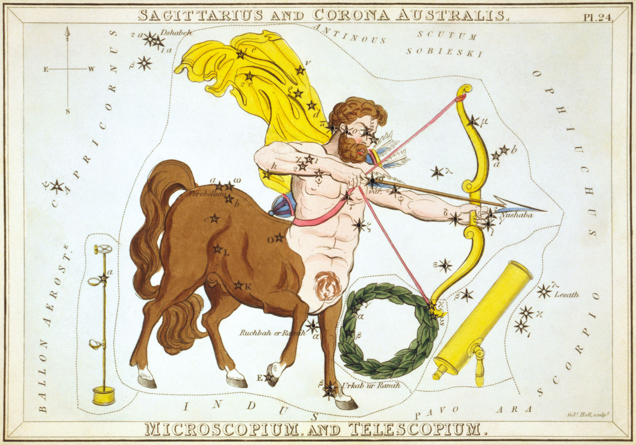 Sagittarius depicted by Jehoshaphat Aspin in a 1824 etching. Courtesy Library of Congress  via Wikimedia Commons .
