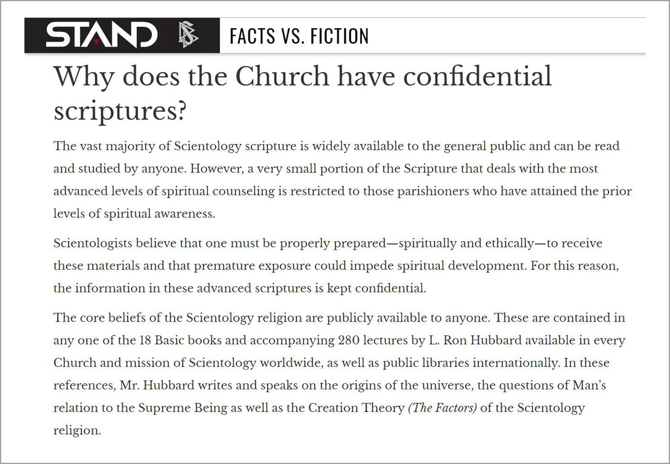 The STAND League explains Scientology's confidential scriptures .  Screenshot captured 2017-11-20.