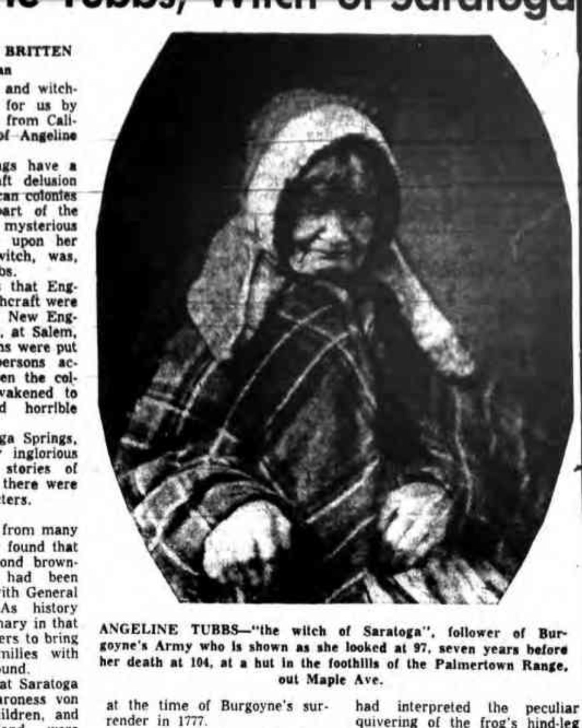 Only known photograph of Angeline Tubbs. Circa 1860.  Republished  in the January 30th, 1959 issue of  The Saratogan .
