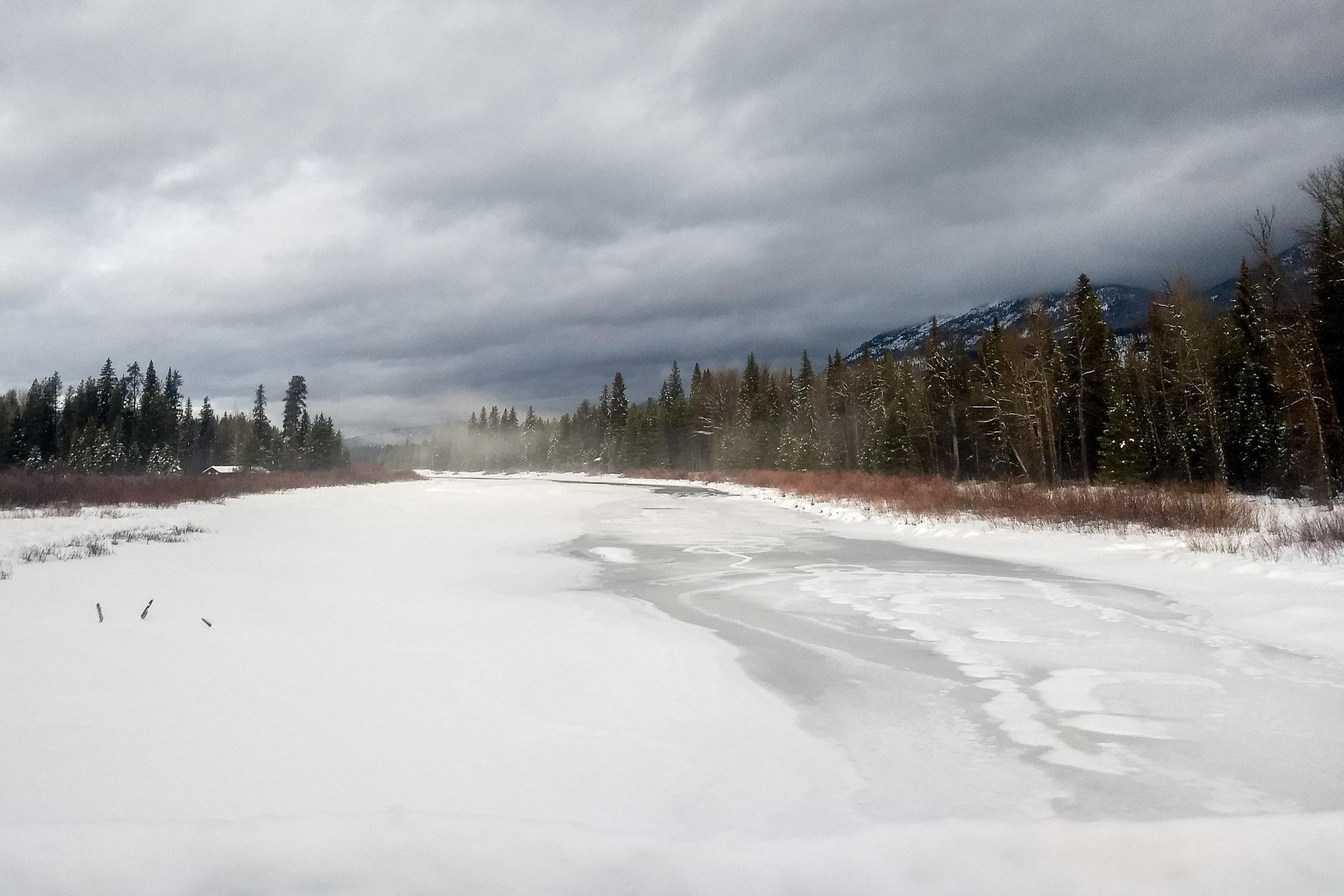 Stillwater Creek frozen over. Photo by Bethany Denton.
