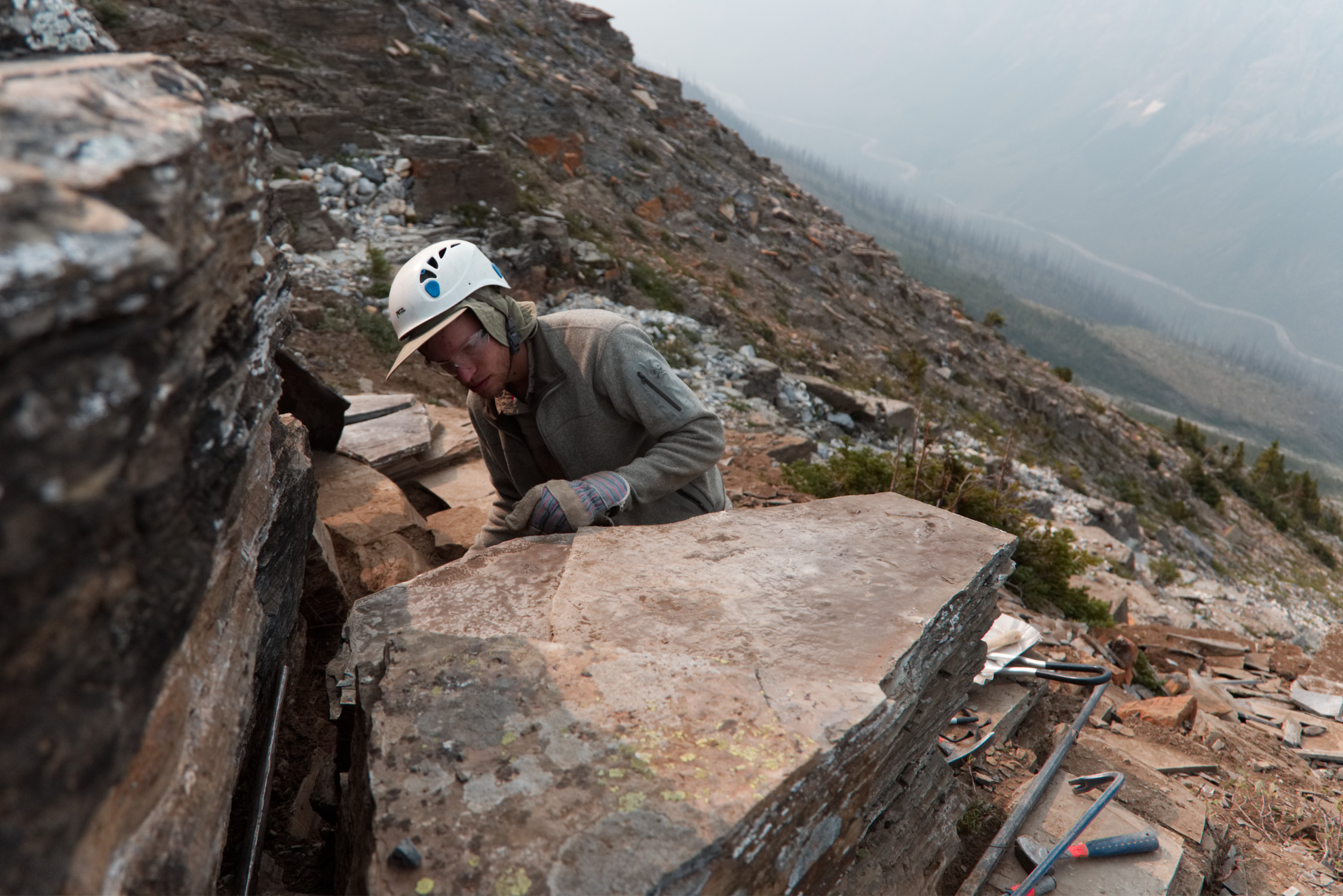 PhD student Joe Moysiuk examines the shale. Photo by Molly Segal.