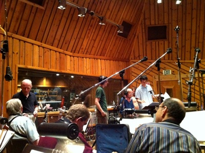 Tony Awards 2011 - Jamie and Eliiot Lawrence at the podium and famed orchestrator Jonathan Tunick chatting up the wind section. This was their first year recording in Avatar's famous Studio A, NYC.