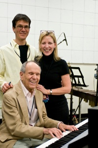 Tonys Awards 2009 - The music department  on showday: Jamie (Assoc. MD), Kimberlee Wertz (music co-ordinator), and Elliot Lawrence, MD on the ninth floor of Radio City Music Hall where the band played live and was piped into RCMH.