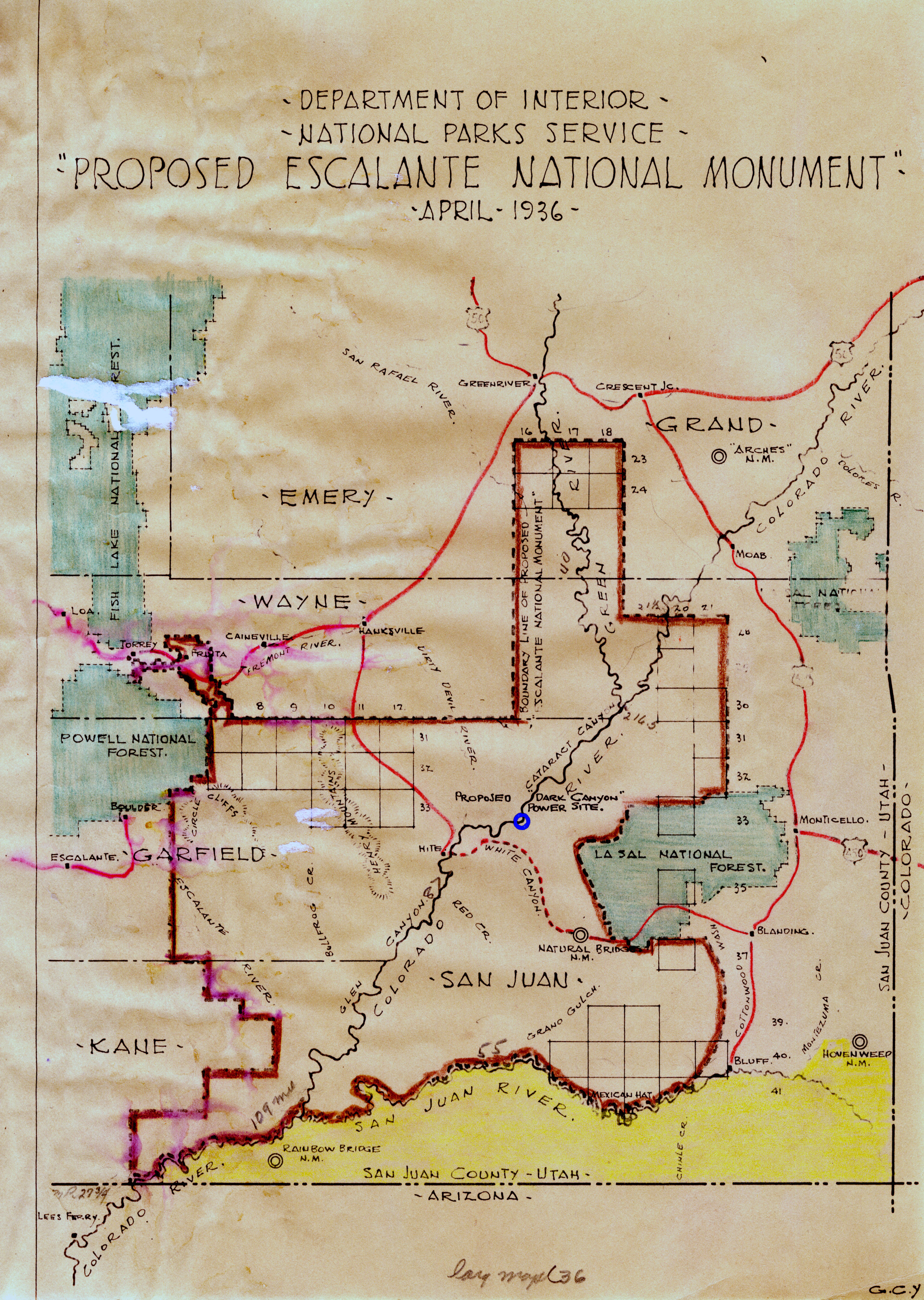 1936 MAP OF THE PROPOSED ESCALANTE NATIONAL MONUMENT (SERIES 22028).