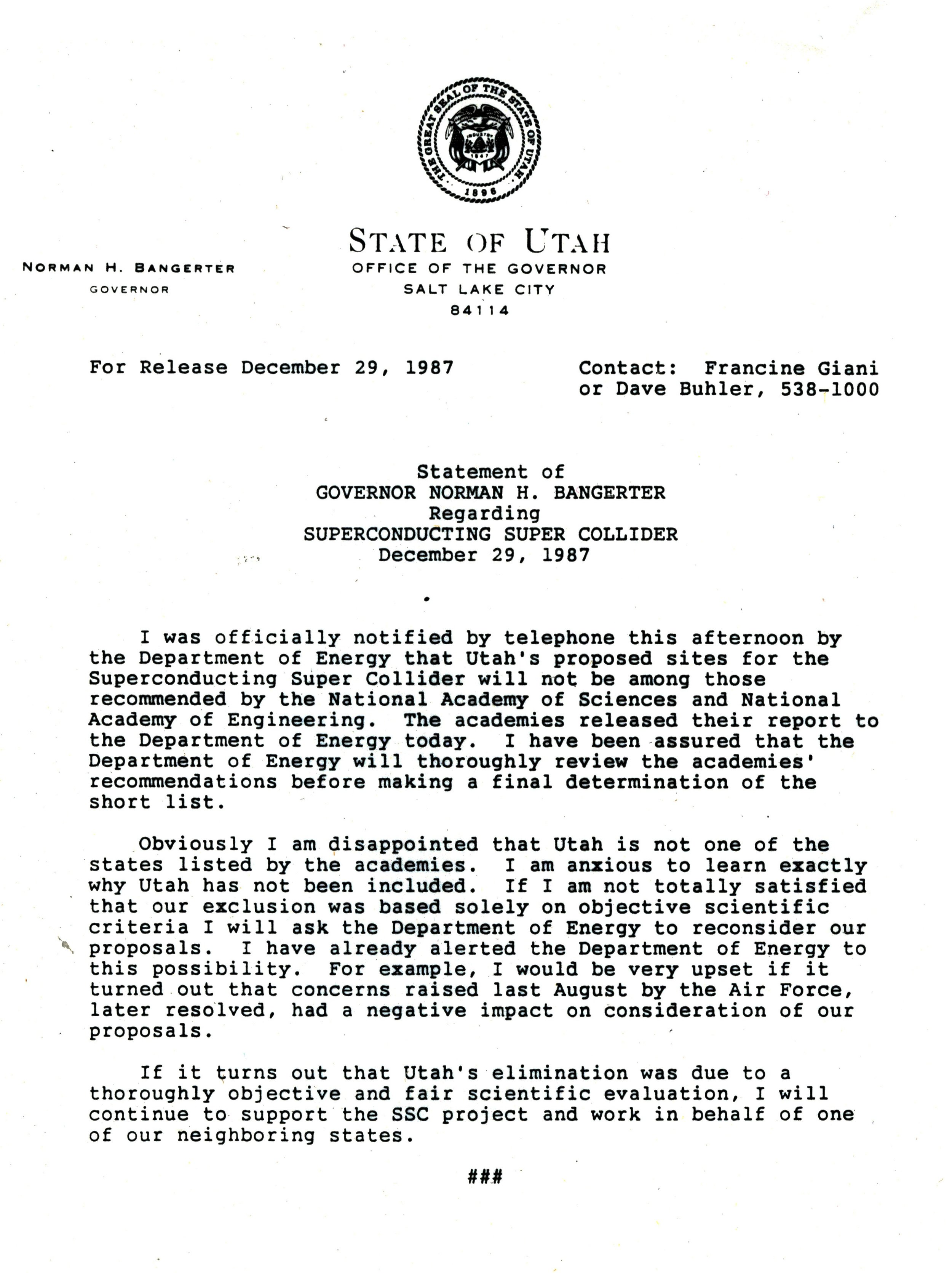 LETTER ON DOE'S DECISION TO NOT SELECT UTAH FOR THE SSC (SERIES 10263). PHOTO COURTESY OF THE UTAH STATE ARCHIVES AND RECORDS SERVICE.