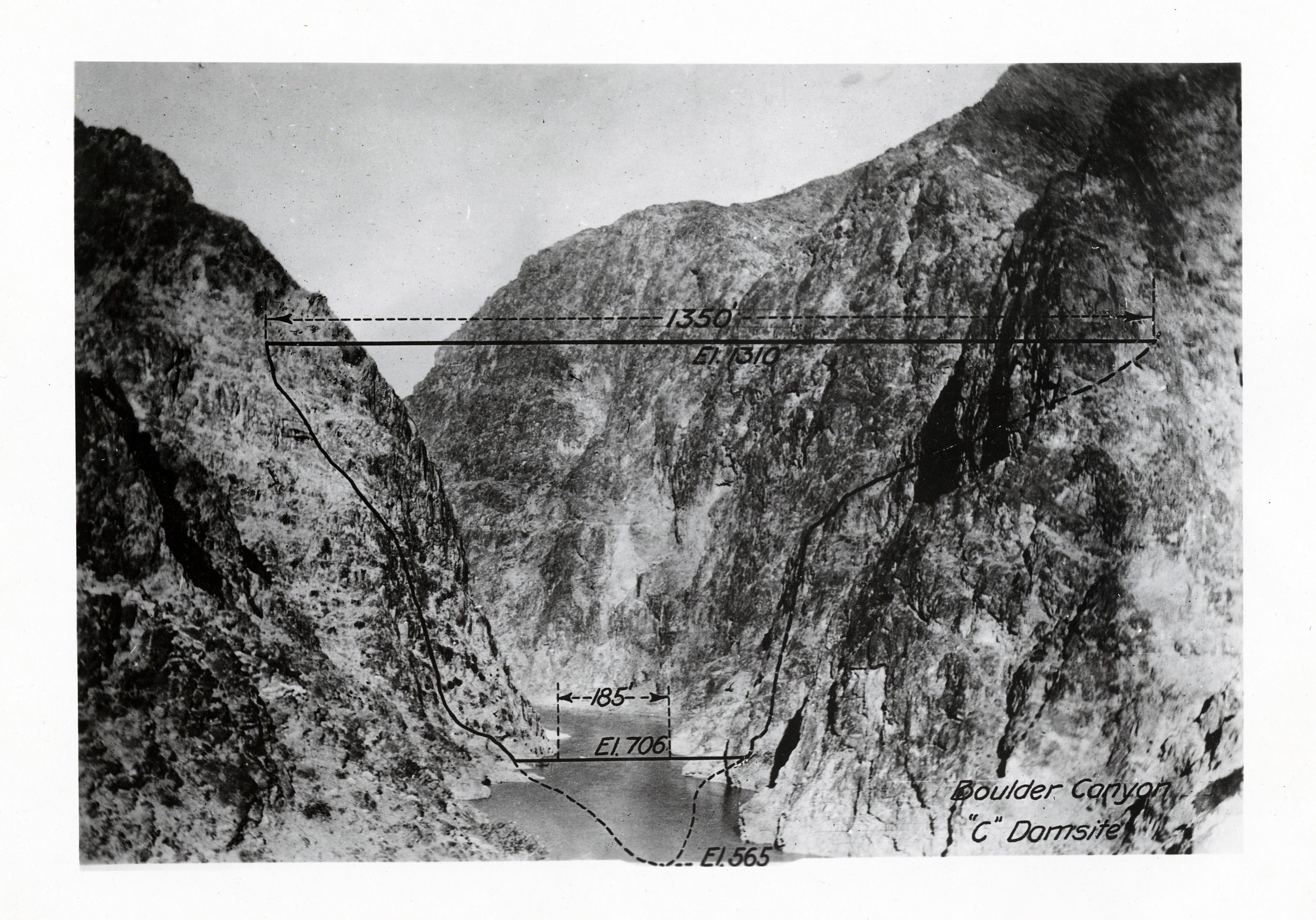 PHOTOGRAPH OF THE BOULDER CANYON DAM SITE BEFORE CONSTRUCTION (SERIES 13912). PHOTO COURTESY OF THE UTAH STATE ARCHIVES AND RECORDS SERVICE.