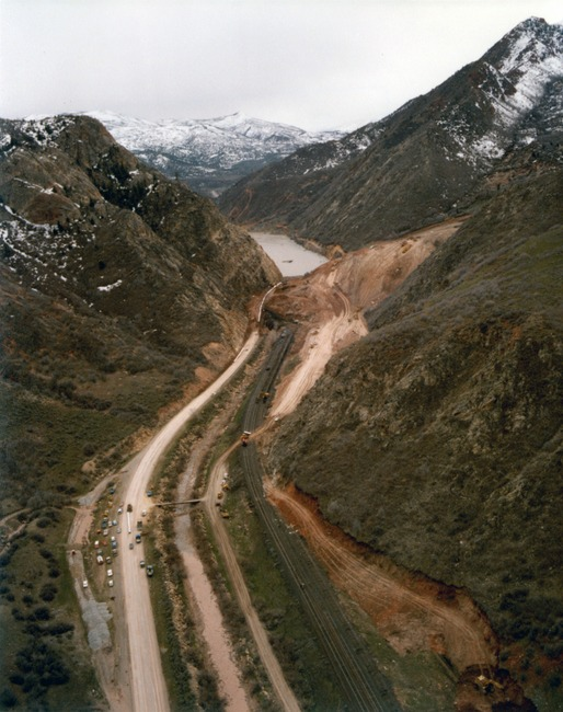 Aerial photo of the mudslide, and Thistle Lake, at its inception in April 1983. Photo courtesy of the Utah State Archives and Records Service.