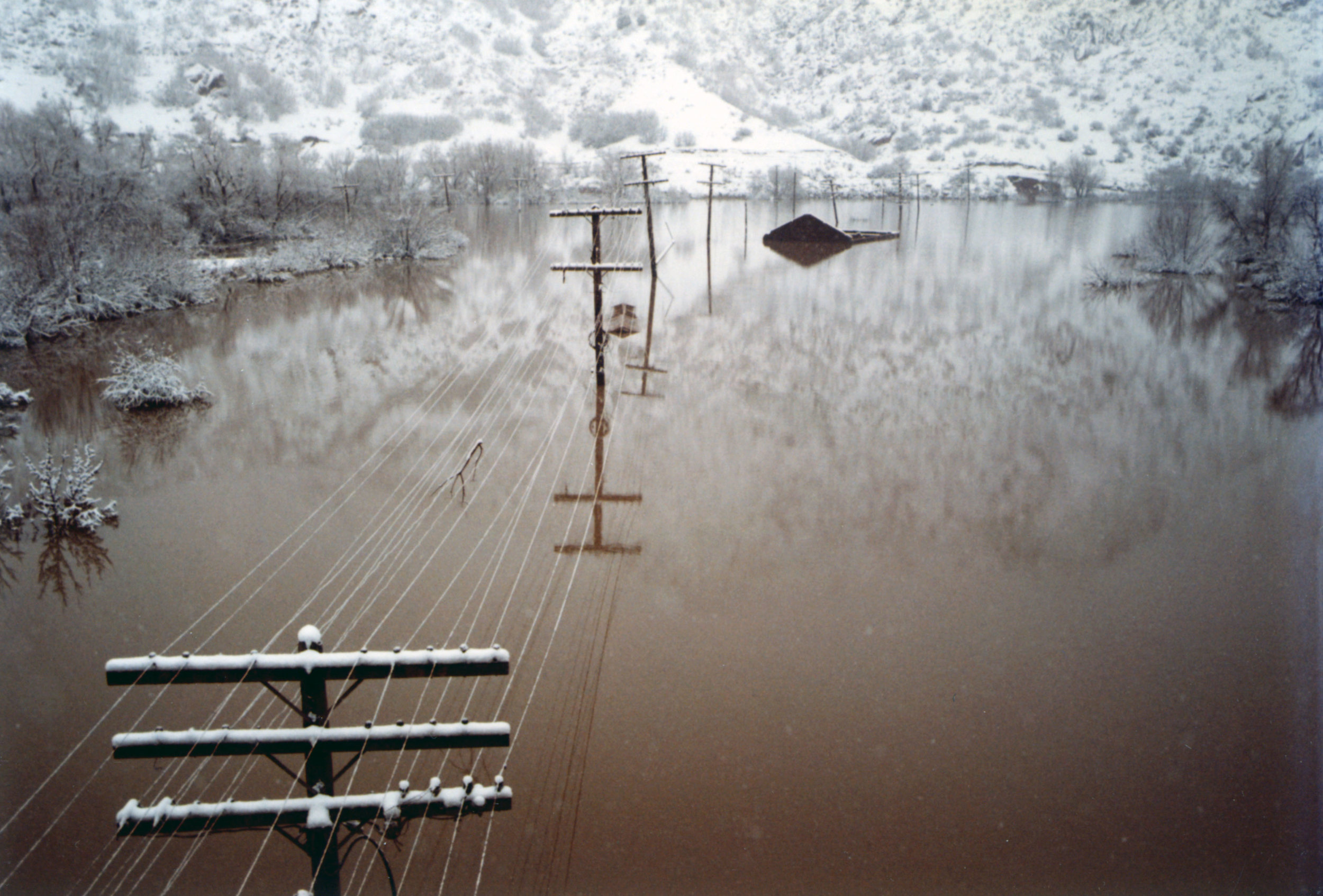 Winter comes to Thistle Lake in December 1983. Photo courtesy of the Utah State Archives and Records Service.