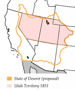UTAH TERRITORY WITH DESERET BORDER - LICENSED UNDER CC BY-SA. PHOTO COURTESY OF THE UTAH STATE ARCHIVES AND RECORDS SERVICE.
