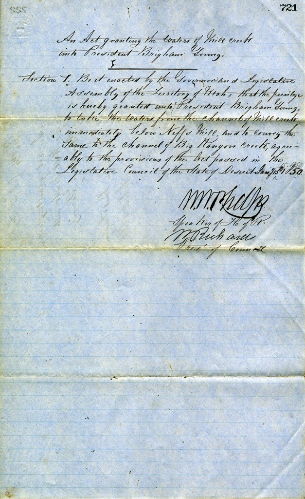 AN ACT GRANTING MILL CREEK WATER RIGHTS TO BRIGHAM YOUNG (SERIES 3150). PHOTO COURTESY OF THE UTAH STATE ARCHIVES AND RECORDS SERVICE.