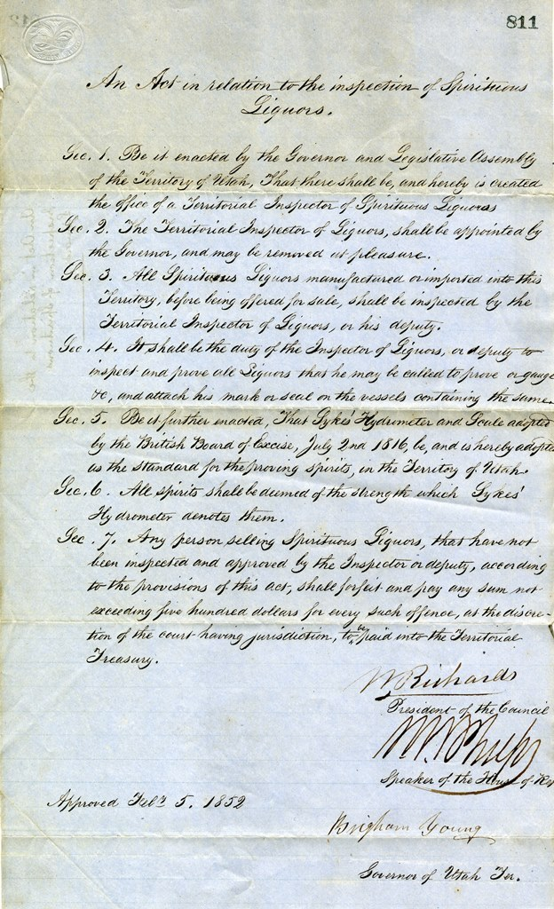 AN ACT ESTABLISHING UTAH'S FIRST LIQUOR INSPECTOR (SERIES 3150). PHOTO COURTESY OF THE UTAH STATE ARCHIVES AND RECORDS SERVICE.