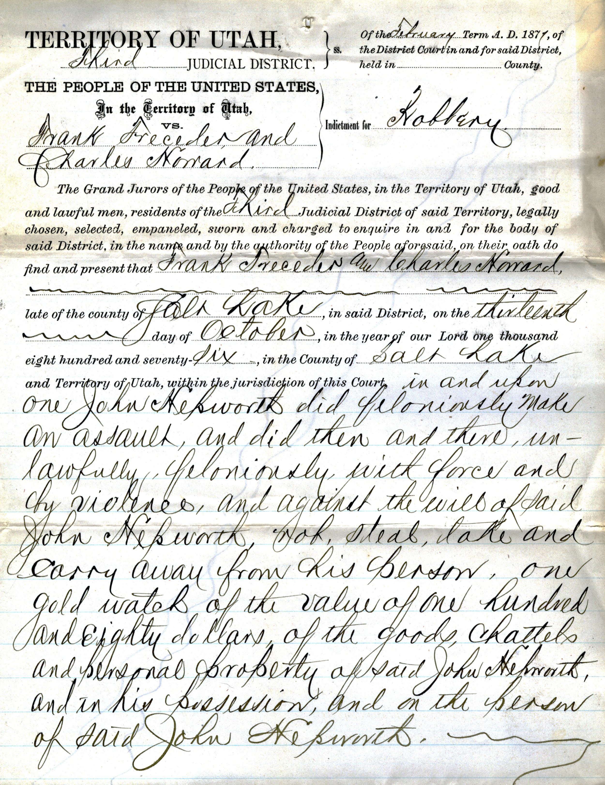 1877 CHARGING DOCUMENT AGAINST FRANK TRESEDER AND CHARLES HOWARD (SERIES 9802). IMAGE COURTESY OF THE UTAH STATE ARCHIVES AND RECORDS SERVICE.