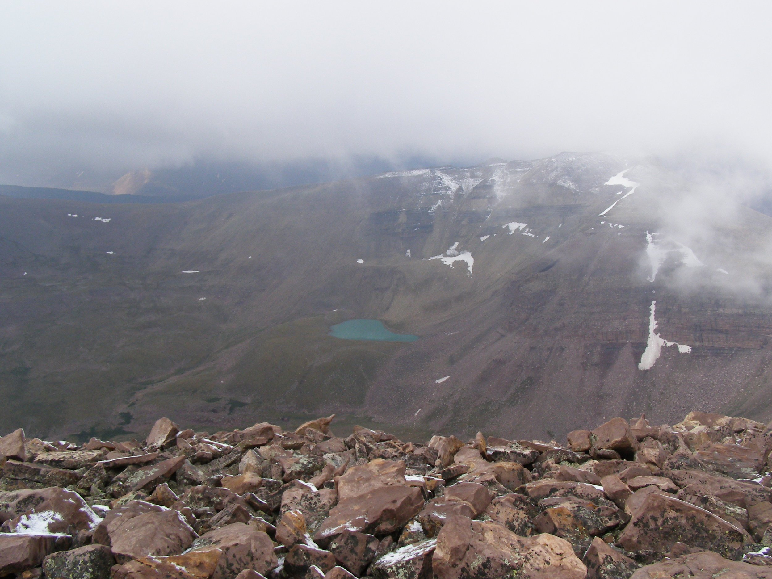 View of some high mountain lake as seen from the Gilbert Peak summit.
