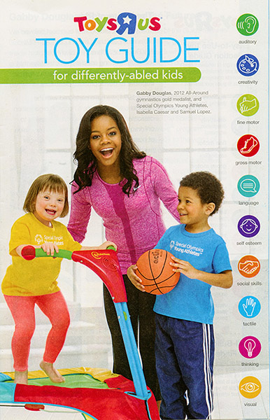 The 2013 Toys R Us Toy Guide for Differently-Abled Kids. All the toys have symbols to show what that toy is good for, such as fine motor skills, hearing, socialization, and much more. Ask for it at your local Toys R Us.