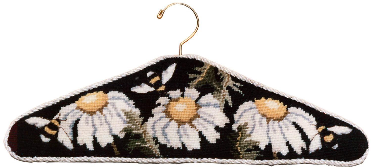 Needlepointed Daisy Bees Hanger Project completed with wood hanger