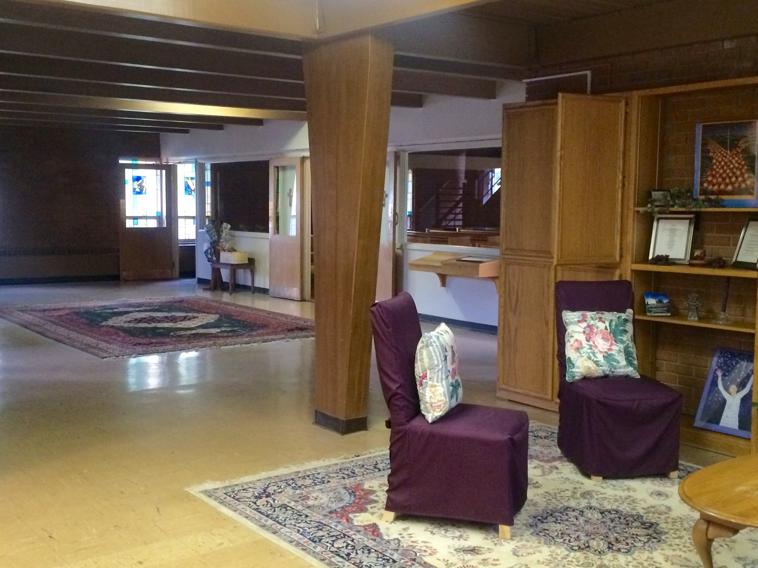 The Narthex has seating as well as big windows so you can see into the sanctuary.