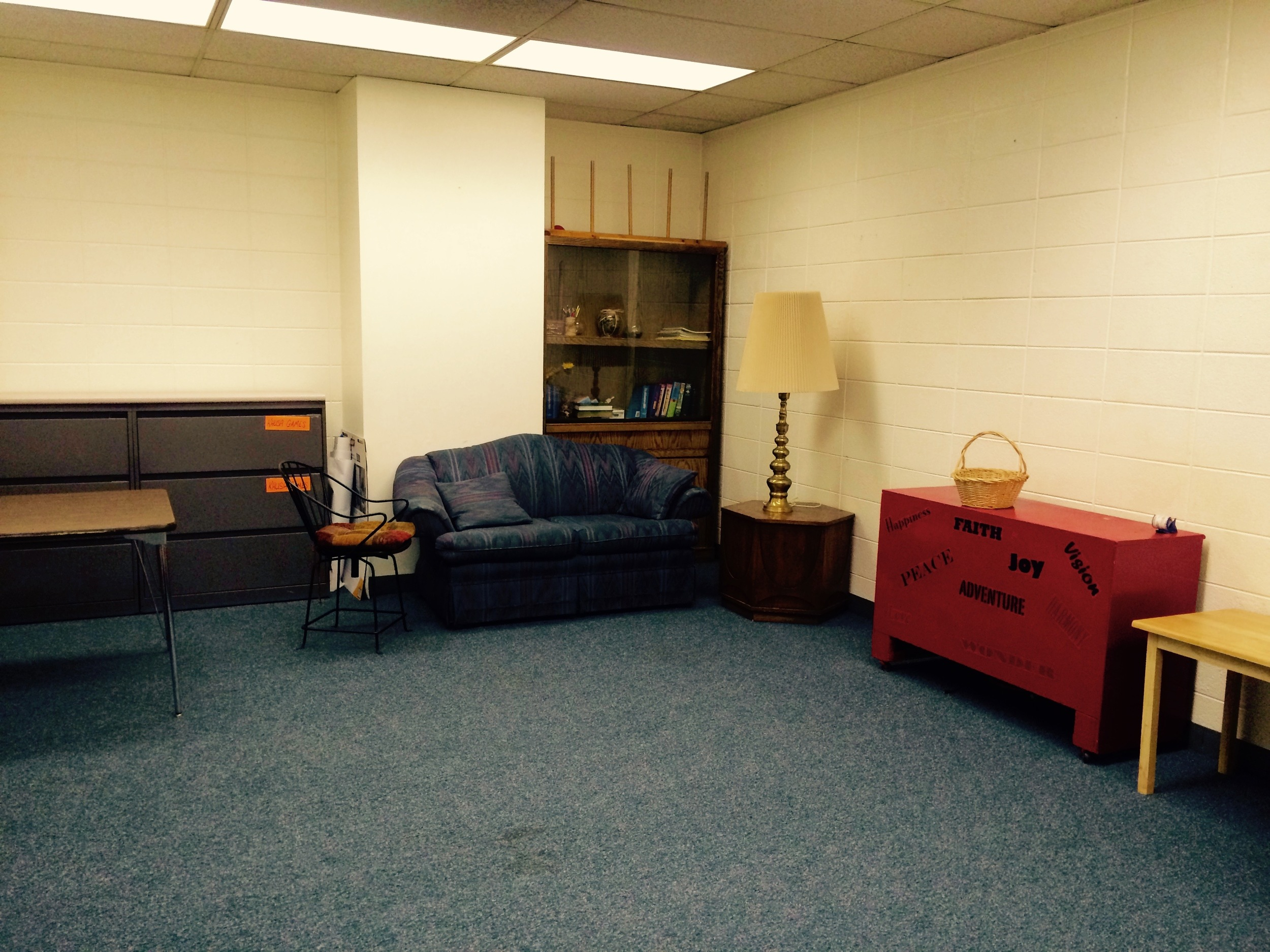 The back classroom, at the very end of the Education Wing. Perfect for meetings and small groups.
