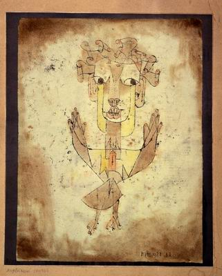 "Paul Klee's  Angelus Novus .  Walter Benjamin said of this painting ""His eyes are staring, his mouth is open, his wings are spread. This is how one pictures the angel of history. His face is turned toward the past. Where we perceive a chain of events, he sees one single catastrophe which keeps piling wreckage upon wreckage and hurls it in front of his feet. The angel would like to stay, awaken the dead, and make whole what has been smashed. But a storm is blowing from Paradise; it has got caught in his wings with such violence that the angel can no longer close them. The storm irresistibly propels him into the future to which his back is turned, while the pile of debris before him grows skyward. This storm is what we call progress."""