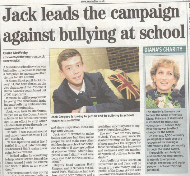 Jack sets up an Anti-Bullying programme in his school and starts his campaigning