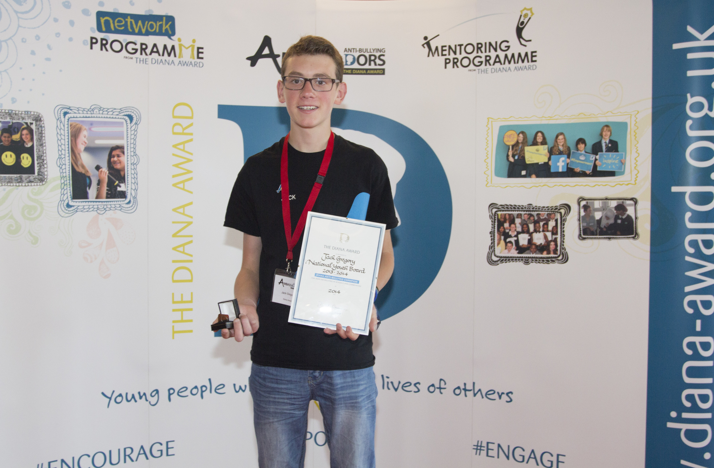 Jack receives a Diana Award to recognise his efforts