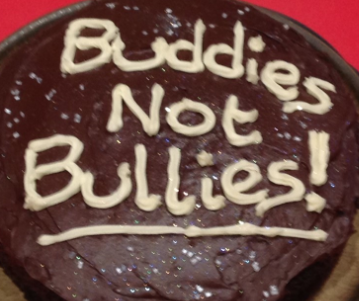 Sharing the message through chocolate cake... always a winner!  Check out the gingerbread men standing against bullying.