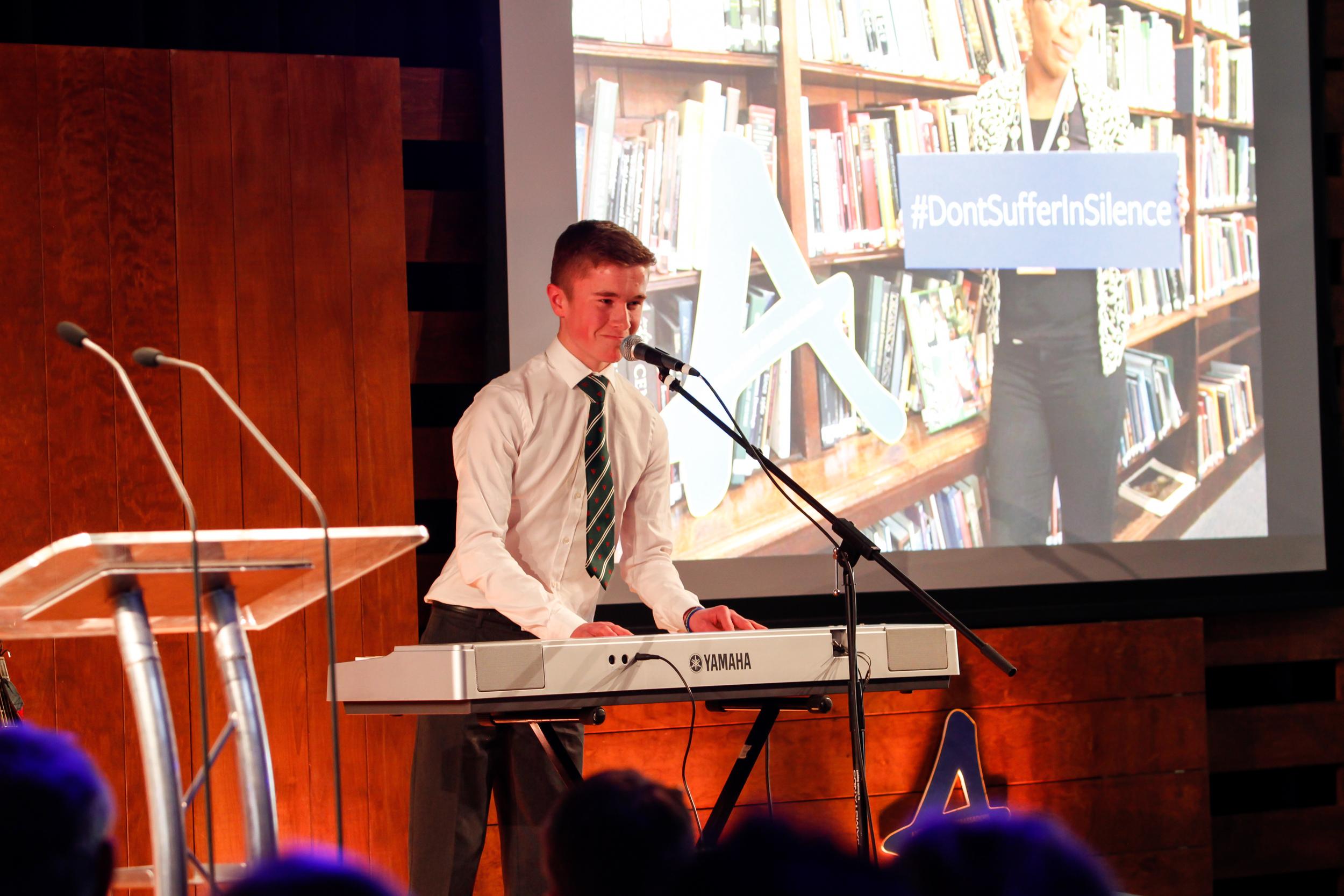 Elliot Davis- performing his own song!(Anti-Bullying Ambassador, Newbridge College, County Kildare)