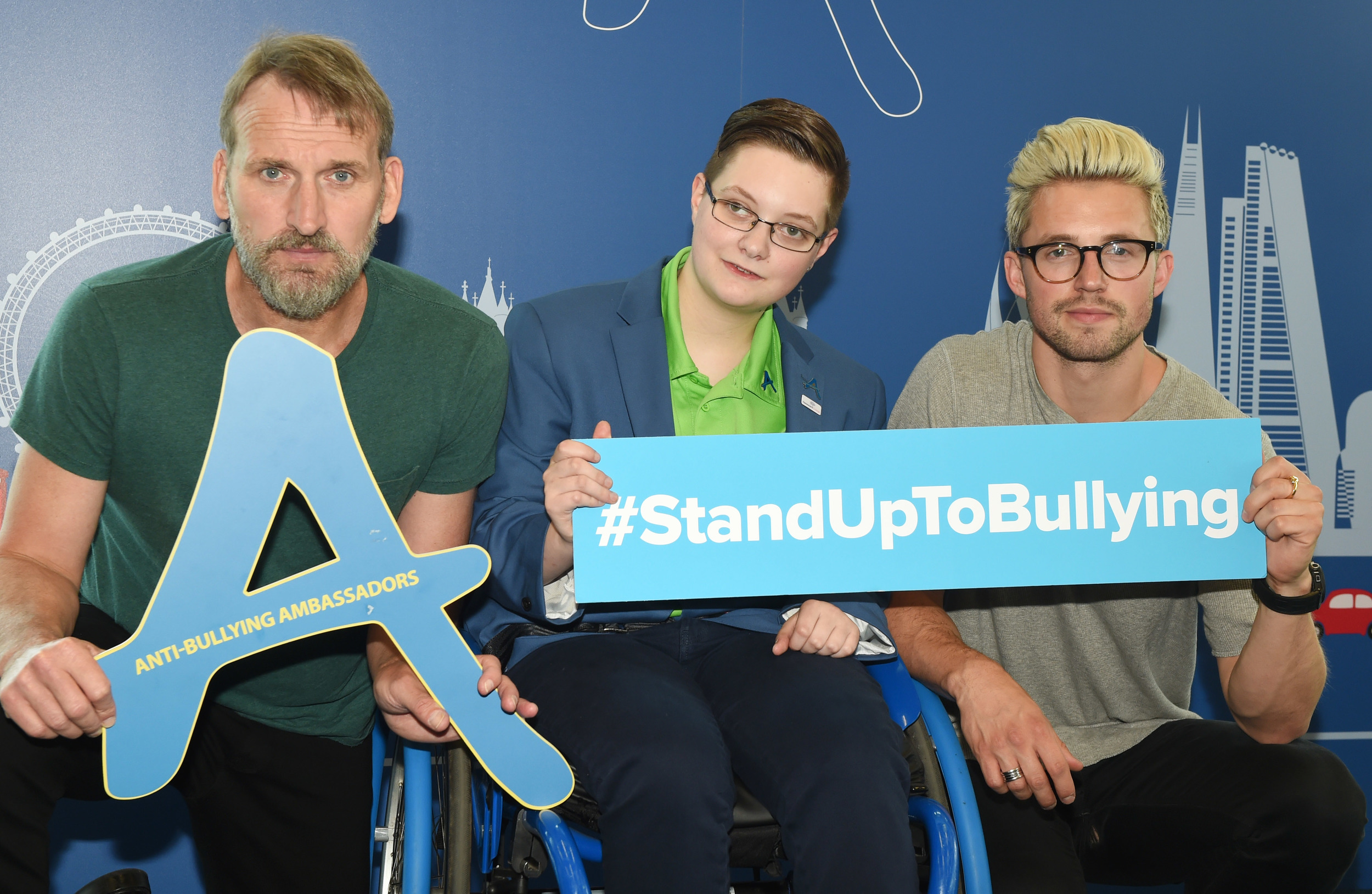 5th July  2016Stand Up To Bullying Day  held at Facebook, 10 Brock Street, London. For more information please go to www.standuptobullying.co.ukHere: Christopher Ecclestone,Joey Mander and Marcus ButlerCredit: Justin Goff/GoffPhotos.com