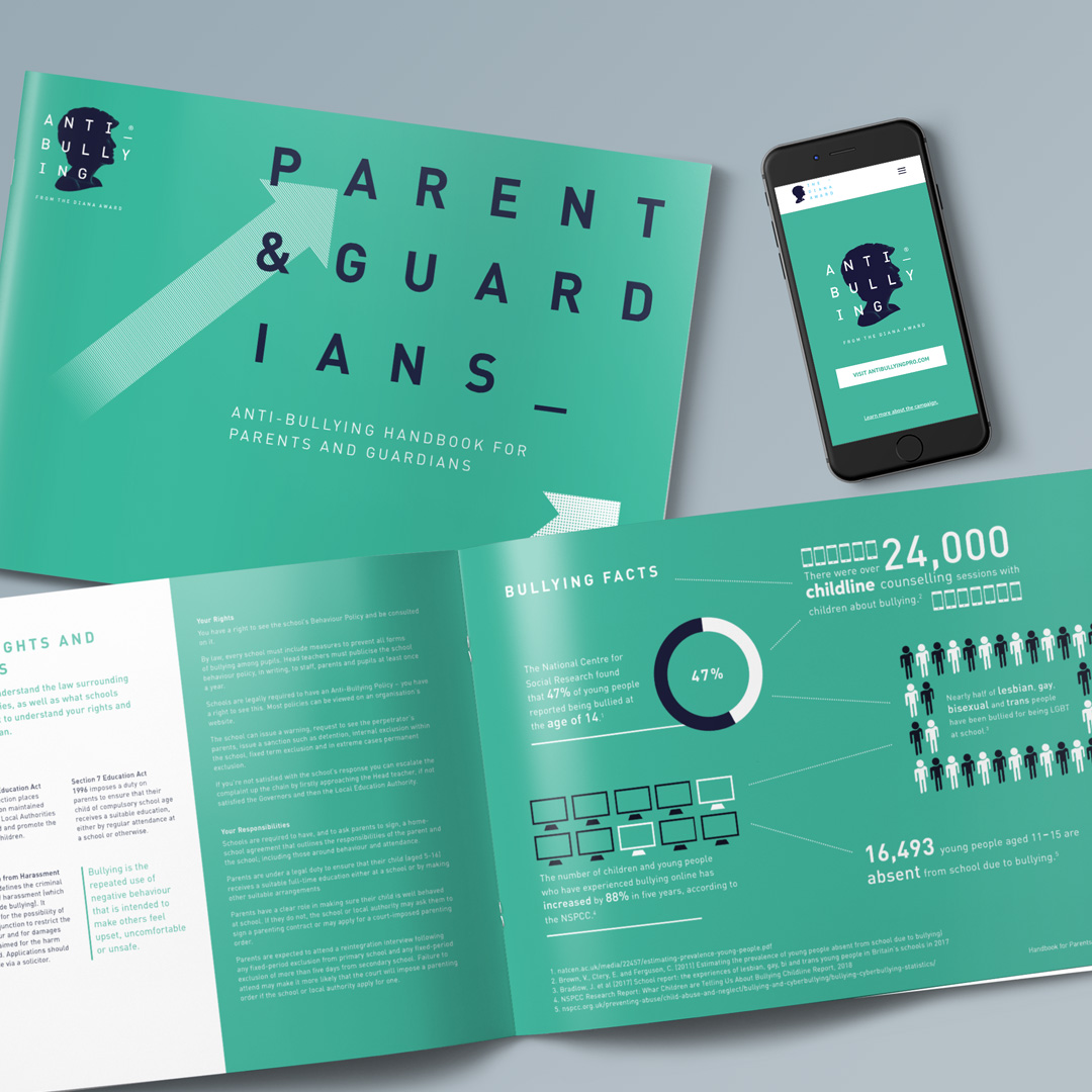 NEW: Parent & Guardians Guide   Recently launched by The Diana Award, our new comprehensive publication is available for purchase.  Includes tips and advice on: online safety, supporting your child if they are subject to bullying, facts about bullying, supporting the mental health of your child and much much more.