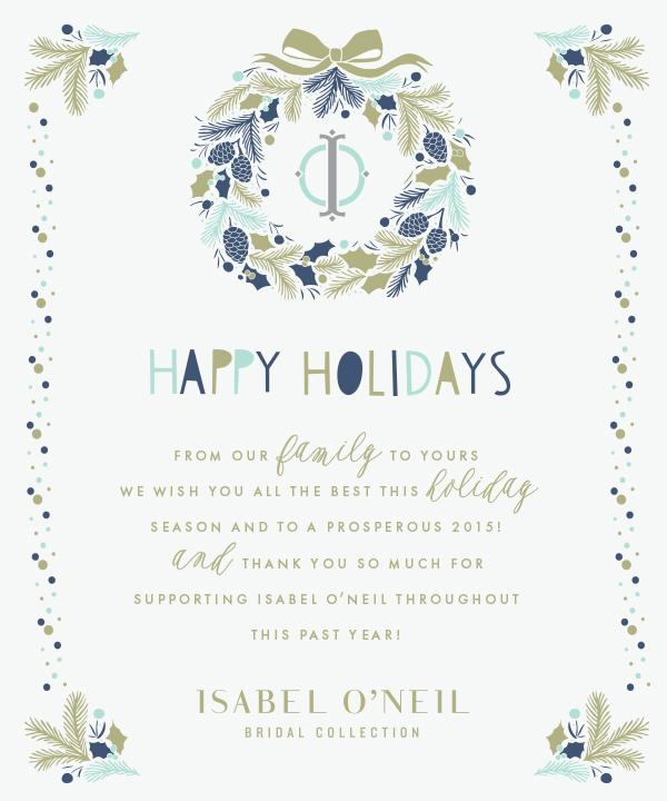 Isabel O'Neil Bridal Holiday Card 2014