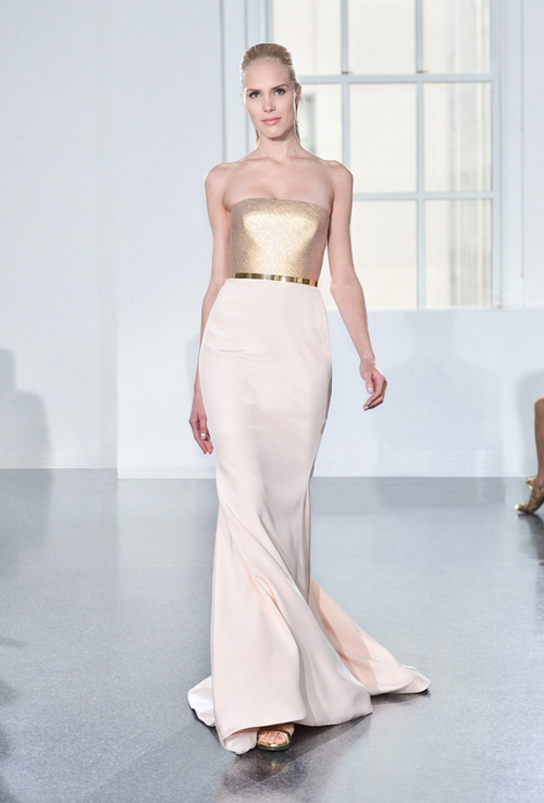 Romona Keveza Couture Evening Dress Blush Gold Mother of The Bride Dress Tampa Bridal Shop Isabel O'Neil