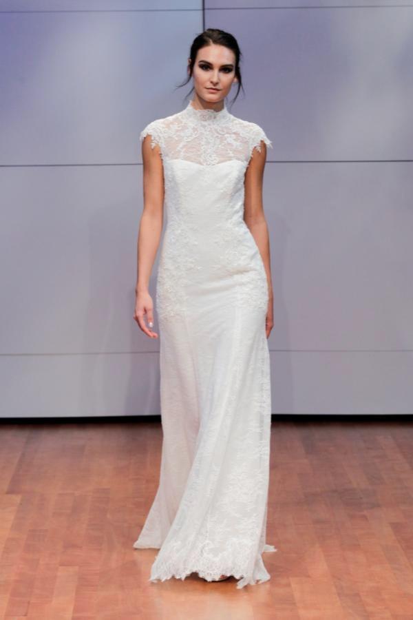 Alyne Bridal Teadora Lace Keyhole Back Sheath Gown Wedding Dress