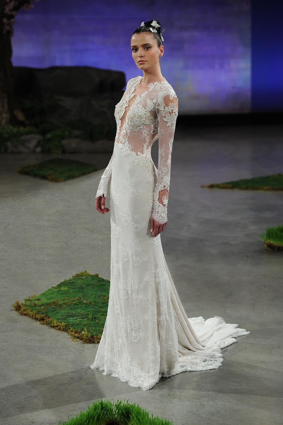 Ines Di Santo Bianca Lace Long Sleeve Plunging Neckline Low Back Wedding Dress Tampa