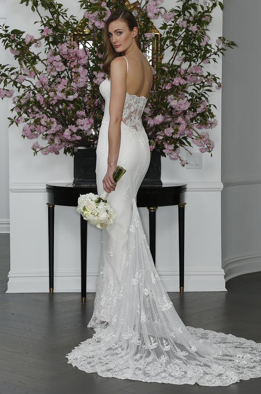sexy strapless lace illusion back mermaid wedding dress
