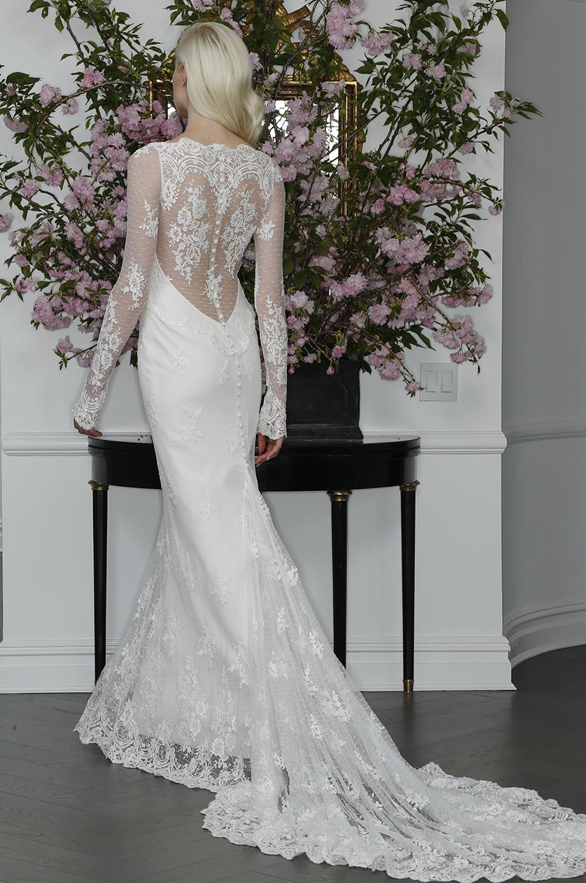sexy long sleeve illusion lace mermaid wedding dress