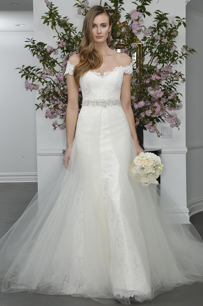 off the shoulder lace cap sleeve wedding dress tulle skirt