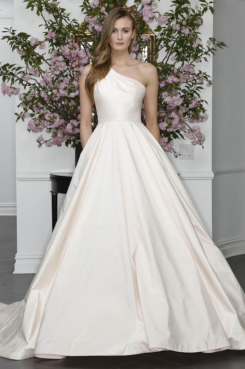 legends romona keveza silk one shoulder ball gown wedding dress