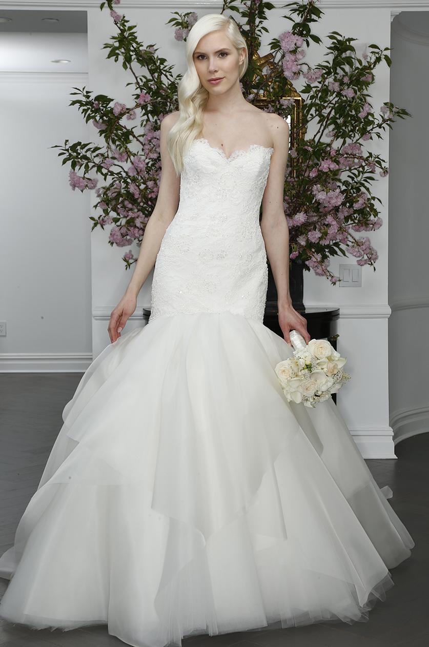 legends romona keveza mermaid trumpet tulle organza skirt strapless sweetheart beaded lace wedding dress