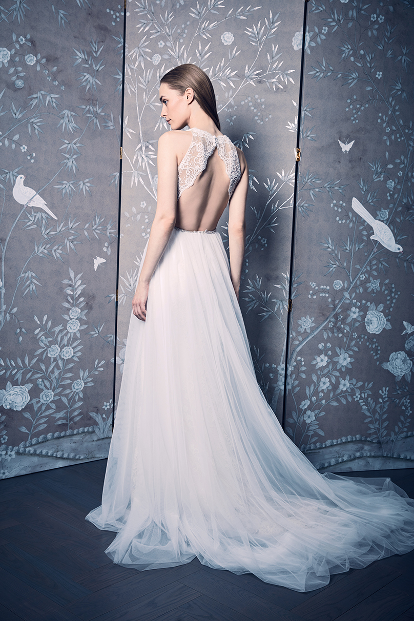 legends rooming keveza ivory Halter Open Back Lace Wedding Dress