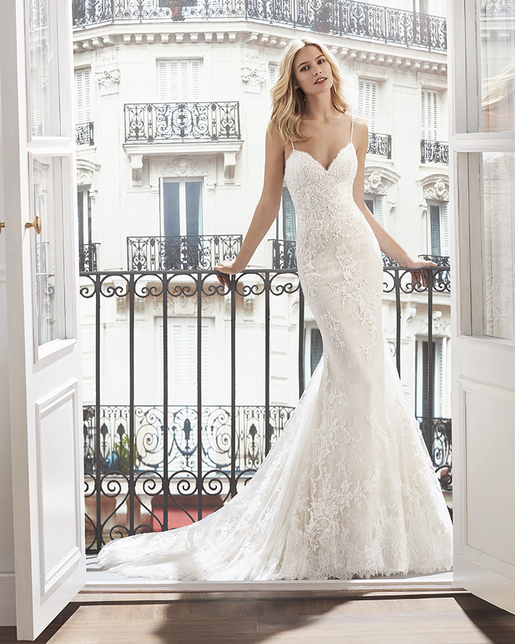 Luna Novias Rosa Clara Mermaid lace wedding dress. Sweetheart, beaded straps. Tampa Bridal Gown Shop